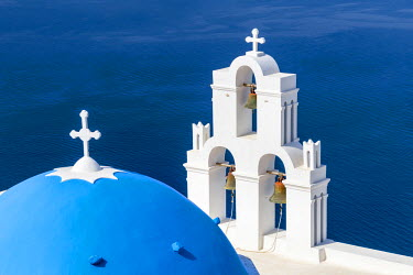GRE1345AW Blue domed church of Fira, Santorini, Greece