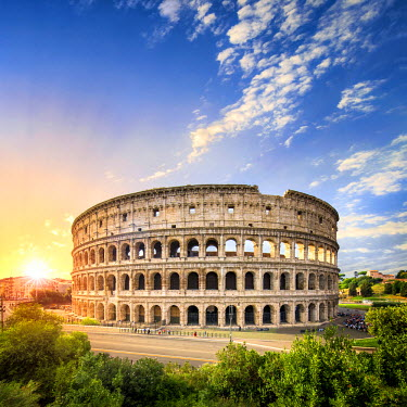 ITA9945AW Colosseum in Rome at sunset, Italy