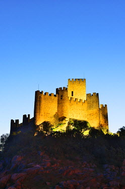 POR9301AW The 12th century mighty Templar castle of Almourol at sunset. Portugal