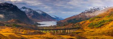 UK03363 UK, Scotland, Highland, Loch Shiel, Glenfinnan, Glenfinnan Railway Viaduct, part of the West Highland Line, made famous in JK Rowling's Harry Potter as the Hogwarts Express