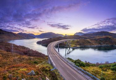 UK03395 UK, Scotland, Highland, Sutherland, Loch a' Chairn Bhain, Kylesku, Kylesku Bridge, a landmark on the North Coast 500 Tourist Route, Sunrise