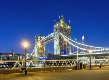 ENG14260AW United Kingdom, England, London. Tower Bridge over the River Thames at dawn.