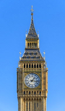 ENG14275AW United Kingdom, England, London. Clock tower of Big Ben (Elizabeth Tower), which stands at the north end of the Palace of Westminster.