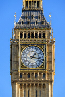 ENG14276AW United Kingdom, England, London. Clock face of Big Ben (Elizabeth Tower), which stands at the north end of the Palace of Westminster.