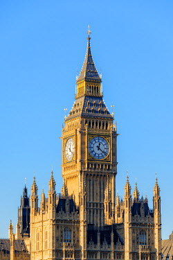 ENG14303AWRF United Kingdom, England, London. The clock tower of Big Ben (Elizabeth Tower) above Palace of Westminster, the houses of Parliament of the United Kingdom.