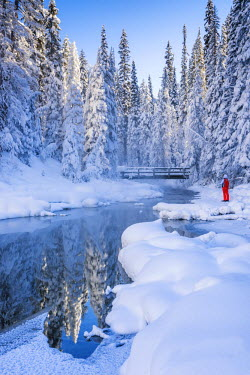 CAN3145AW Person in Winter Landscape, Emerald Lake, Yoho National Park, British Columbia, Canada