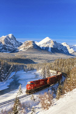 CAN3161AW Canadian Pacific Train in Winter, Morant's Curve, Banff National  Park, Alberta, Canada