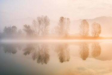 CLKMR51909 Sunrise in Adda river, Airuno province, Lombardy district, Italy, Europe.