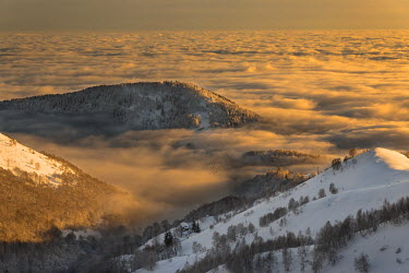 CLKGP55371 Winter view from Bielmonte with sea clouds during sunset (Bielmonte, Veglio, Biella province, Piedmont, Italy, Europe)