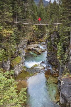 CLKMG52519 Europe, Italy, Trentino, Predazzo. Man on the suspension bridge over the gorge of the Travignolo river in Paneveggio, Dolomites