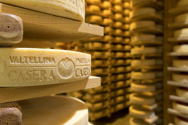 CLKRM53649 Valtellina Casera cheese obtained from milk produced in dairy farms in the province of Sondrio Lombardy Italy Europe