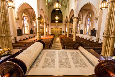View with torah scroll with interior of hsitoric Congregation Mickve Israel Synagogue, Savannah, Georgia.