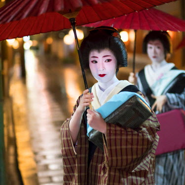 JAP0998AW Two Maiko with umbrella walking along a street, Gion district, Kyoto, Japan