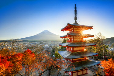 JAP1030AW Chureito Pagoda with Mount Fuji during autumn season, Fujiyoshida, Yamanashi prefecture, Japan