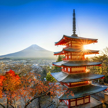 JAP1031AW Chureito Pagoda with Mount Fuji during autumn season, Fujiyoshida, Yamanashi prefecture, Japan