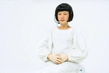 JAP1034AW Human android Kodomoroid at the National Museum of Emerging Science and Innovation (Miraikan), Odaiba, Tokyo, Japan