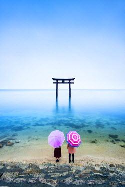 JAP1054AW Japanese Torii Gate, Lake Biwa, Takashima, Shiga Prefecture, Japan