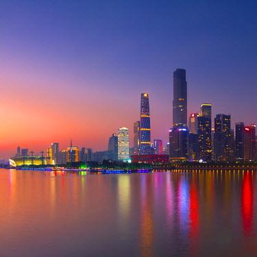 CH11189AWRF Skyline of Tianhe at sunset, Guangzhou, Guangdong, China