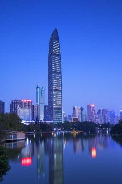CH11125AW KK100 (KingKey 100) skyscraper and Lizhi Park, Shenzhen, Guangdong, China