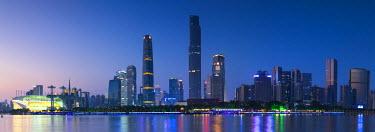 CH11143AW Skyline of Tianhe at dusk, Guangzhou, Guangdong, China