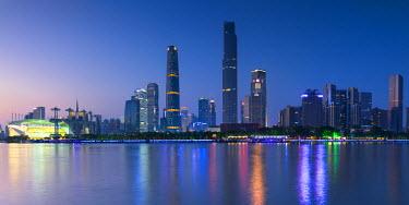 CH11144AW Skyline of Tianhe at dusk, Guangzhou, Guangdong, China