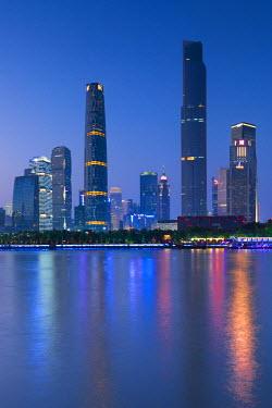 CH11145AW Skyline of Tianhe at dusk, Guangzhou, Guangdong, China