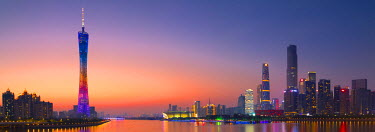 CH11164AW Skyline of Tianhe at sunset, Guangzhou, Guangdong, China