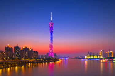 CH11167AW Canton Tower at sunset, Tianhe, Guangzhou, Guangdong, China