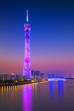 CH11168AW Canton Tower at sunset, Tianhe, Guangzhou, Guangdong, China