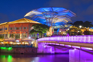 SNG1349AW Clarke Quay and Singapore River at dusk, Singapore