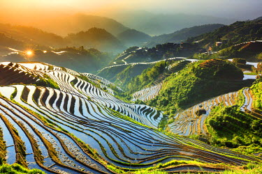 CH11192AW China, Guangxi Province, Longsheng, Long Ji rice terrace filled with water in the morning with Tiantou village in the background