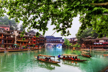 CH11239AW China, Hunan province, Fenghuang, riverside houses