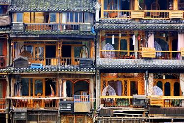 CH11349AW China, Hunan province, Fenghuang, riverside houses