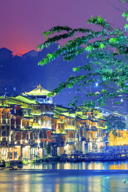CH11366AW China, Hunan province, Fenghuang, riverside houses
