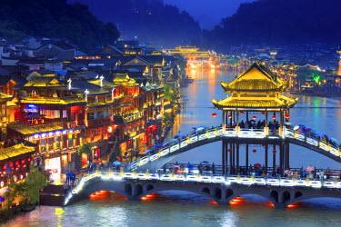 CH11374AW China, Hunan province, Fenghuang, riverside houses