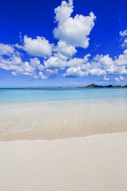 CLKRM46112 Blue sky frames the white sand and the turquoise Caribbean sea Ffryers Beach Antigua and Barbuda Leeward Islands West Indies