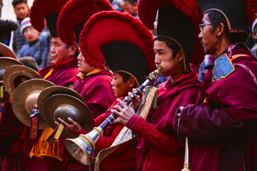 NEP2102AW Local monks with ceremonial dress during a festival,  Lo Manthang, Upper Mustang region, Nepal