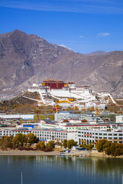 TIB0228AWRF Lhasa city with Potala palace at daytime, Tibet