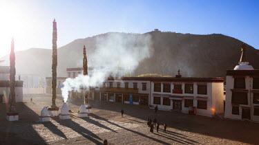 TIB0161AW Elevated view of courtyard of Samye monastery, Tibet