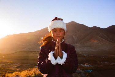 TIB0171AW Young tibetan girl with traditional dress, Samye monastery, Tibet, China (MODEL RELEASED)