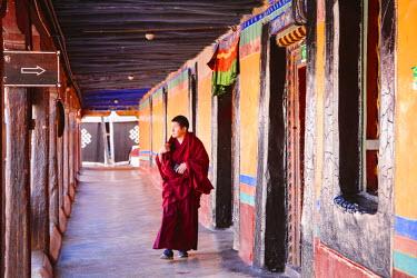 TIB0181AW Monk inside Jokang temple, Lhasa, Tibet, China