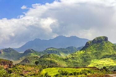 ETH3170 Ethiopia, Amhara Region, Lasta.  A rugged rural farming scene in Lasta during the annual rainy season, which transforms the countryside into verdant greens.