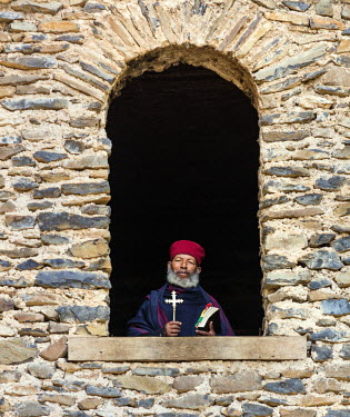 ETH3183 Ethiopia, Amhara Region, Qusquam.  An Ethiopian Orthodox monk at Qusquam church.
