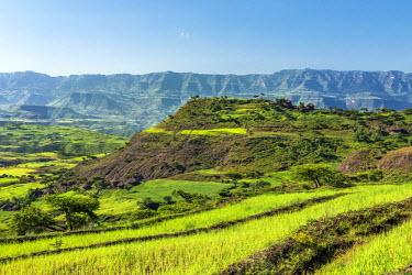 ETH3220 Ethiopia, Amhara Region, Lasta.  A rugged rural farming scene in Lasta during the annual rainy season, which transforms the countryside into verdant greens.