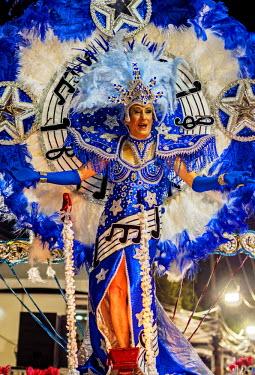 BRA3359AW Brazil, State of Rio de Janeiro, City of Rio de Janeiro, Samba Dancer in the Carnival Parade.