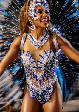 BRA3360AW Brazil, State of Rio de Janeiro, City of Rio de Janeiro, Samba Dancer in the Carnival Parade.
