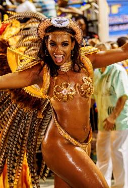 BRA3361AW Brazil, State of Rio de Janeiro, City of Rio de Janeiro, Samba Dancer in the Carnival Parade.