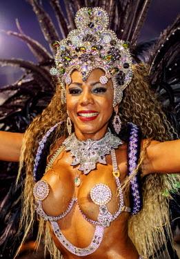 BRA3364AW Brazil, State of Rio de Janeiro, City of Rio de Janeiro, Samba Dancer in the Carnival Parade.