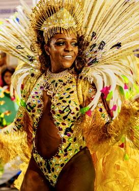 BRA3370AW Brazil, State of Rio de Janeiro, City of Rio de Janeiro, Samba Dancer in the Carnival Parade.