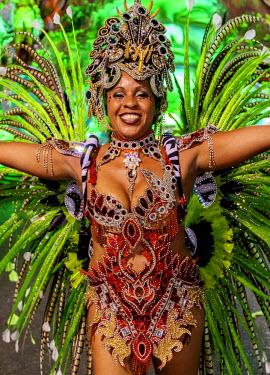 BRA3371AW Brazil, State of Rio de Janeiro, City of Rio de Janeiro, Samba Dancer in the Carnival Parade.